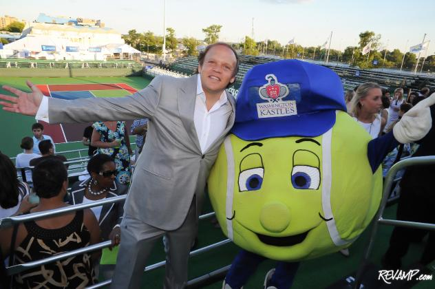 Washington Kastles owner Mark Ein and team mascot 'Topspin' welcome you to Kastles Stadium at The Wharf!