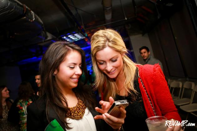 All the single ladies were checking out Hinge's newly launched iPhone dating application during last night's launch party.