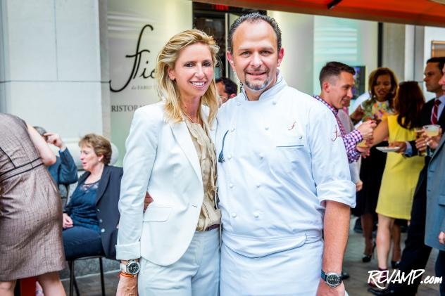 (R-L) Chef Fabio Trabocchi and Maria Trabocchi's top rated Fiola restaurant celebrated its third anniversary, with an intimate patio party.