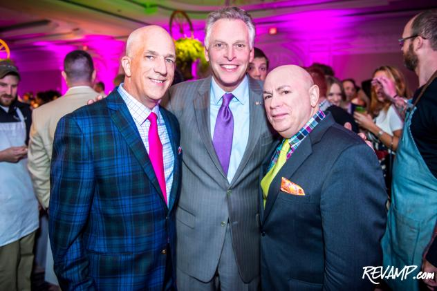 David Hagedorn and Michael Widomski flank Virginia Governor Terry McAuliffe.