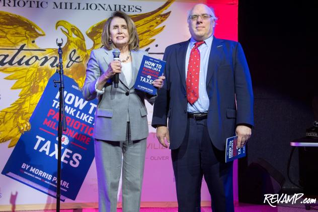 House Minority Leader Nancy Pelosi and Patriotic Millionaires Chair Morris Pearl.